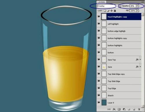 Создание реалистичного стакана сока