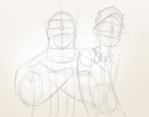 Эскиз персонажей «Святые из Бундока»