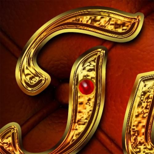 Золотой текст с рубинами