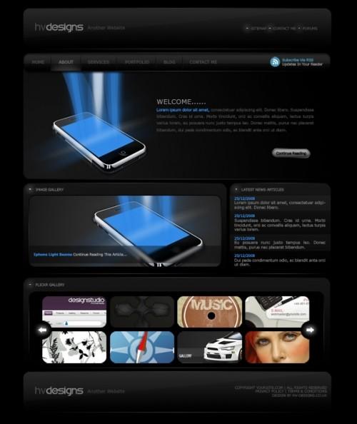 Темный дизайн для веб-сайта