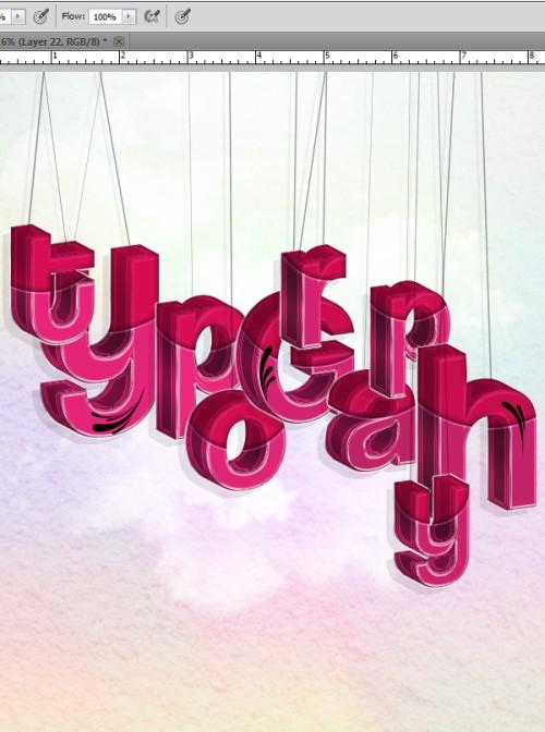 Буквы на веревочках в Фотошоп