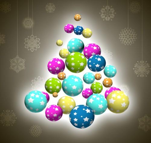 Красочная Рождественская открытка со снежинками и игрушками