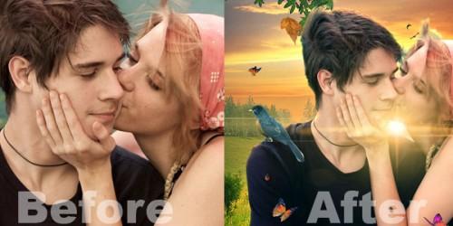 Фотоманипуляция «Влюблённая пара»