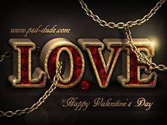 Романтический 3D текст с розами