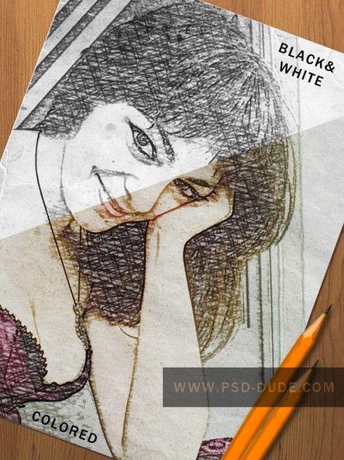 Карандашный рисунок в Фотошоп