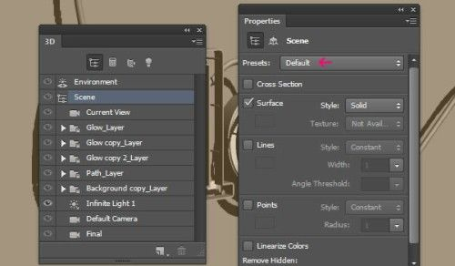 Светящийся 3D текст