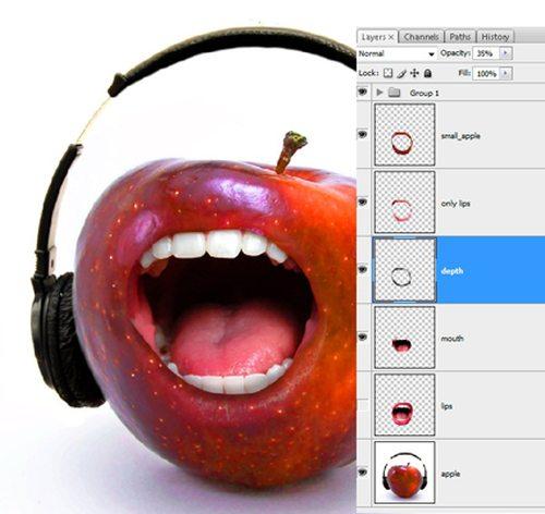 Коллаж «Поющее яблоко»