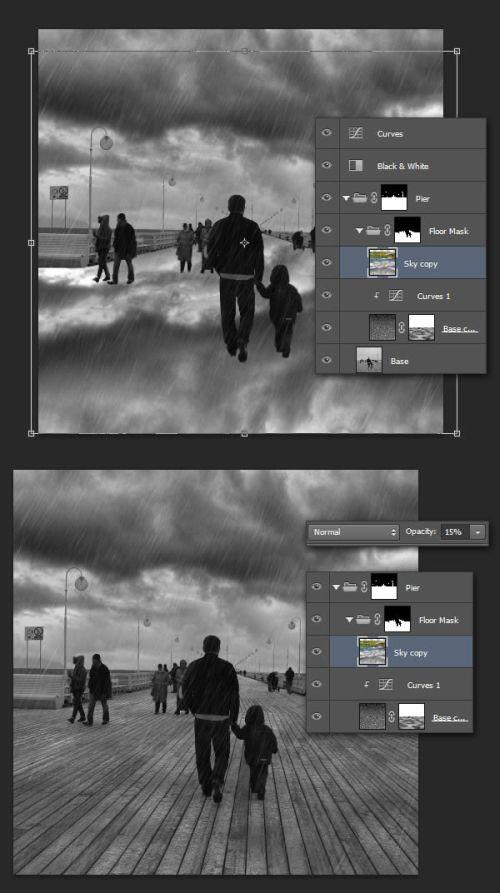 Дождь в Фотошоп